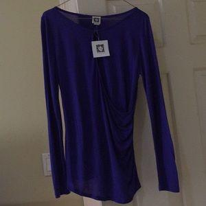 Anne Klein purple front wrap top